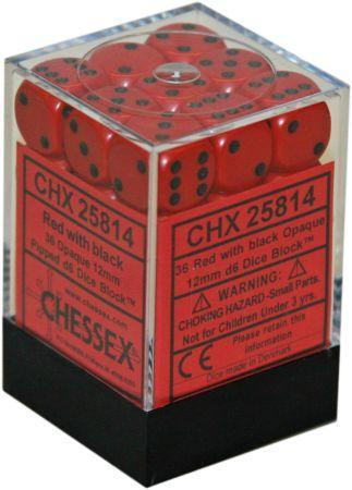 Chessex Opaque 36x 12mm Dice Red with Black