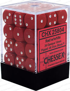 Chessex Opaque 36x 12mm Dice Red with White