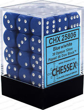 Chessex Opaque 36x 12mm Dice Blue with White