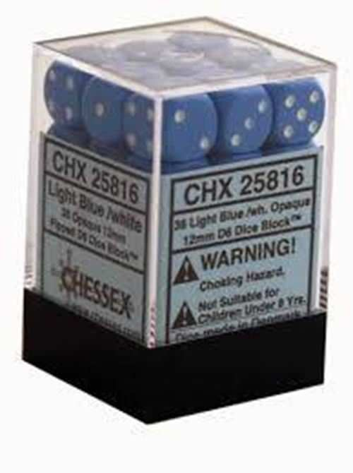 Chessex Opaque 36x 12mm Dice Light Blue with White