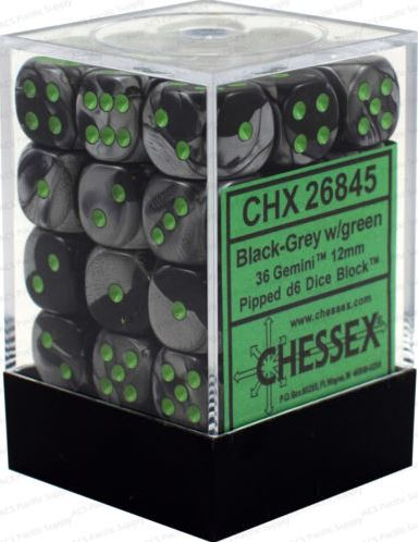 Chessex Gemini Black Grey w/ Green