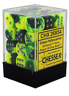 Chessex Gemini 36x12mm Dice Green-Yellow with Silv