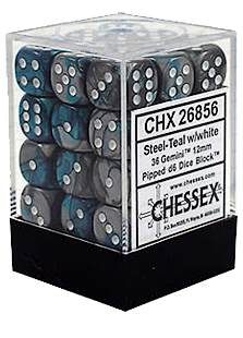 Chessex Gemini 36x12mm Dice Steel-Teal with White