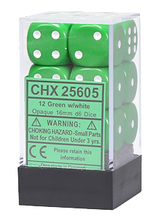 Chessex Opaque 12x16mm Dice Green with White
