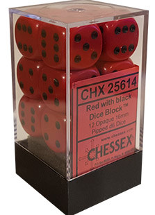 Chessex Opaque 12x16mm Dice Red with Black