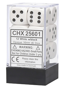 Chessex Opaque 12x16mm Dice White with Black