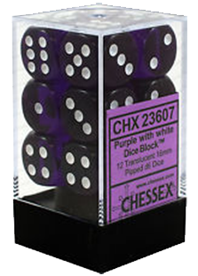 Chessex Translucent 12x16mm Dice Purple with White