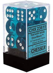 Chessex Translucent 12x16mm Dice Teal with White