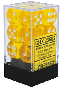 Chessex Translucent 12x16mm Dice Yellow with White