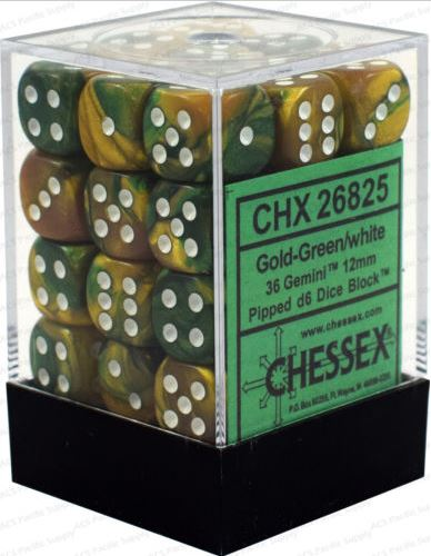 Chessex Gemini Gold Green w/ White