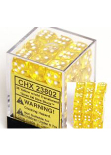 Chessex Translucent 36x12mm Dice Yellow with White