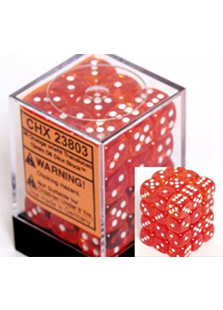 Chessex Translucent 36x12mm Dice Orange with White