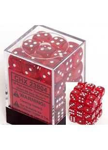 Chessex Translucent 36x12mm Dice Red with White