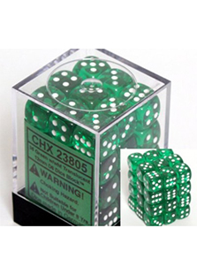 Chessex Translucent 36x12mm Dice Green with White