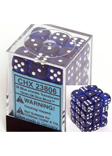 Chessex Translucent 36x12mm Dice Blue with White