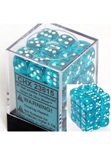 Chessex Translucent 36x12mm Dice Teal with White
