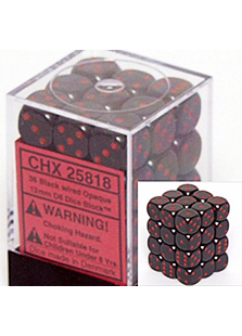 Chessex Opaque 36x 12mm Dice Black with Red