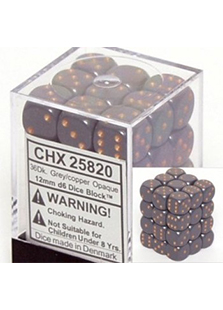 Chessex Opaque 36x 12mm Dice Dark Grey with Copper