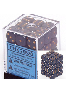 Chessex Opaque 36x 12mm Dice Dusty Blue with Gold
