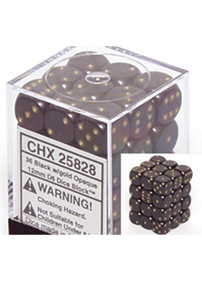 Chessex Opaque 36x 12mm Dice Black with Gold